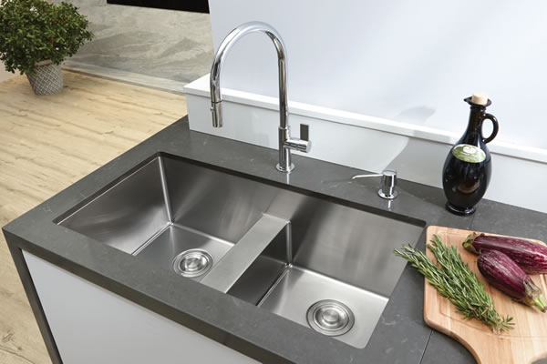 sinks kitchen white island with butcher block top bosco titanium series