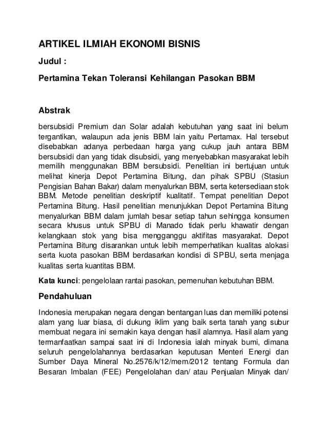 Contoh Artikel Ilmiah Ekonomi Jurnal Bahasa Indonesia - bosmeal.com