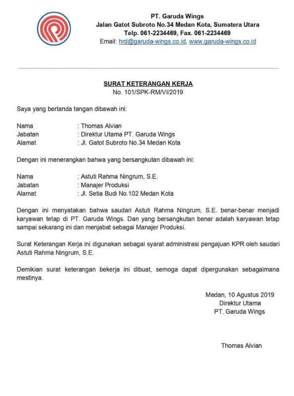 Format Contoh Surat Keterangan Kerja untuk KPR - Bosmeal.com