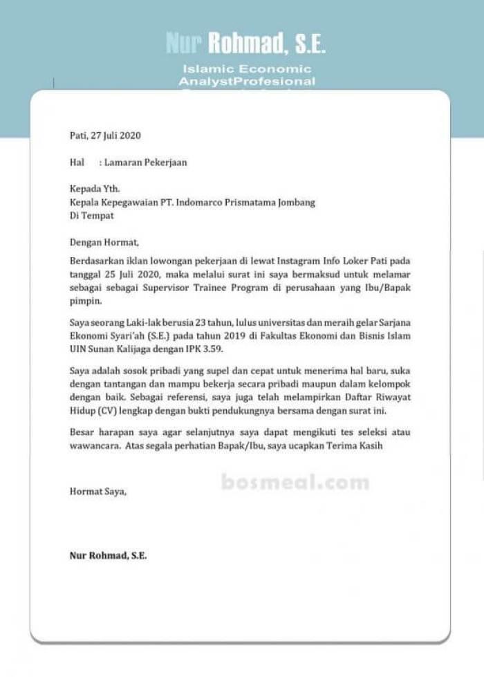 Contoh Surat Lamaran Kerja Indomarco