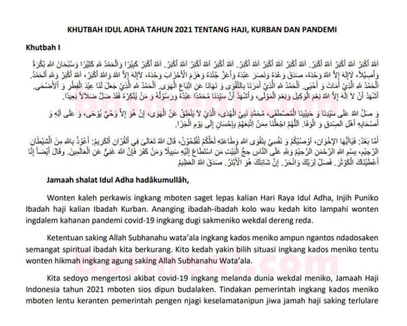 Contoh Khutbah Idul Adha Bahasa Jawa