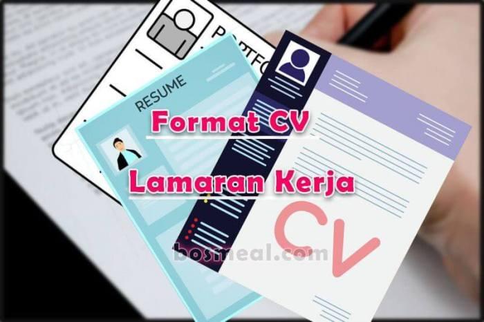 Contoh CV Lamaran Kerja Format CV Lamaran Kerja