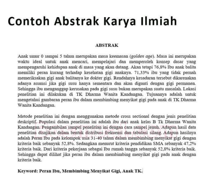 Contoh Abstrak Karya Ilmiah