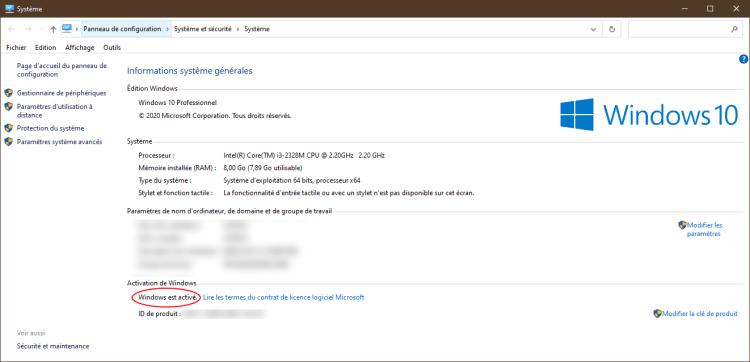 Windows Panneau de configuration, Système et sécurité ensuite Système par Boss Arts