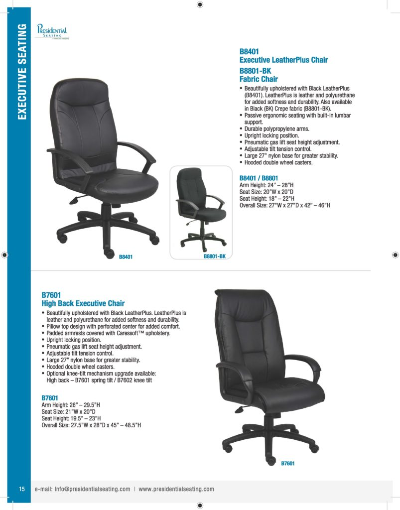 norstar office chair parts 2 person folding presidential seating catalog – bosschair