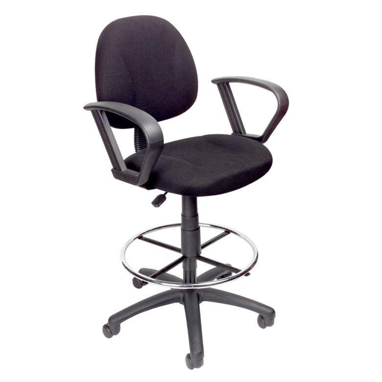 chair with arms solid oak rocking boss ergonomic works adustable drafting loop and removable foot rest black