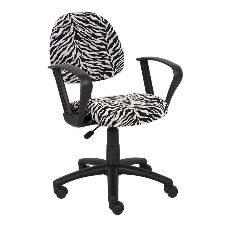 microfiber office chair swing outdoor bunnings boss perfect posture deluxe modern home zebra print w loop arms