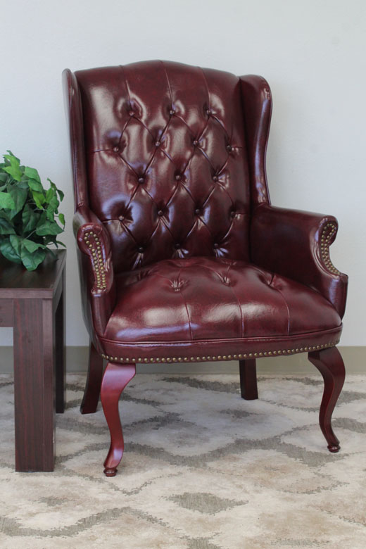 traditional wingback chair sure fit covers canada boss guest in burgundy bosschair