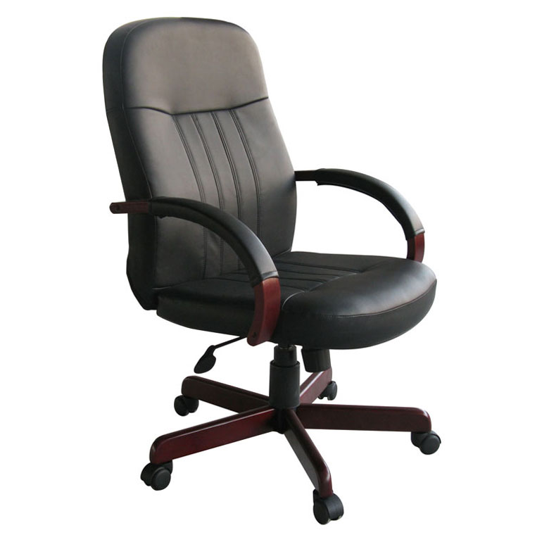 Boss LeatherPlus Exec Chair W Mahogany Finish  BossChair