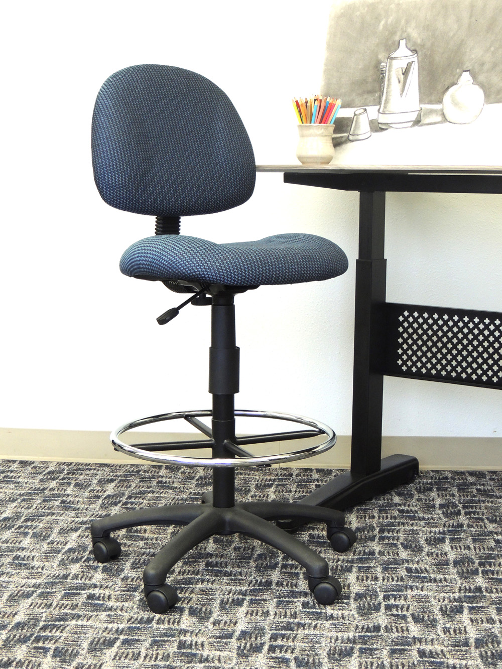 ergonomic chair without arms herman miller caper boss works adustable drafting blue
