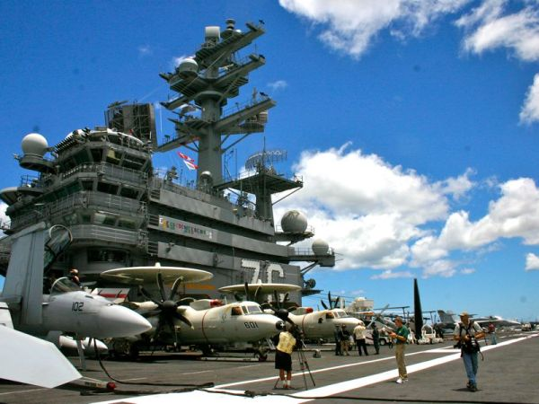 """The Island"" on the starboard side of the USS Ronald Reagan"