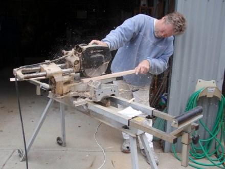 Mounting blocks being cut from hardwood