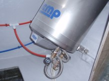 Hot water system fitted under double berth