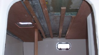 Interior ceiling liners being worked on