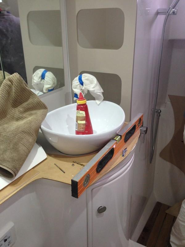 Bathroom basin finally glued in