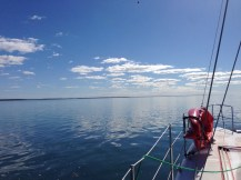 The calm waters of the Sandy Straits.