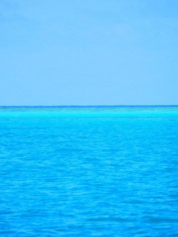 The colours of the water!