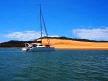 Anchored in front of the sand hill with Chances.