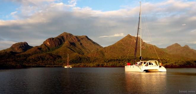 The majestic Hinchinbrook Island. Anchored with Aqualibrium.