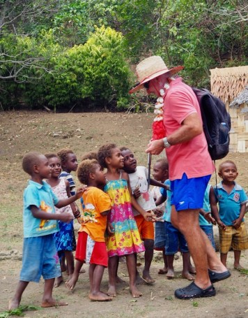 Hugh from Sans Souci enjoying the village kiddies.