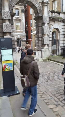 Alex and Dafydd walking around the area near Somerset House.