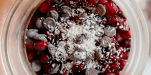 Coconut Pomegranate Chocolate Chia Seed Pudding