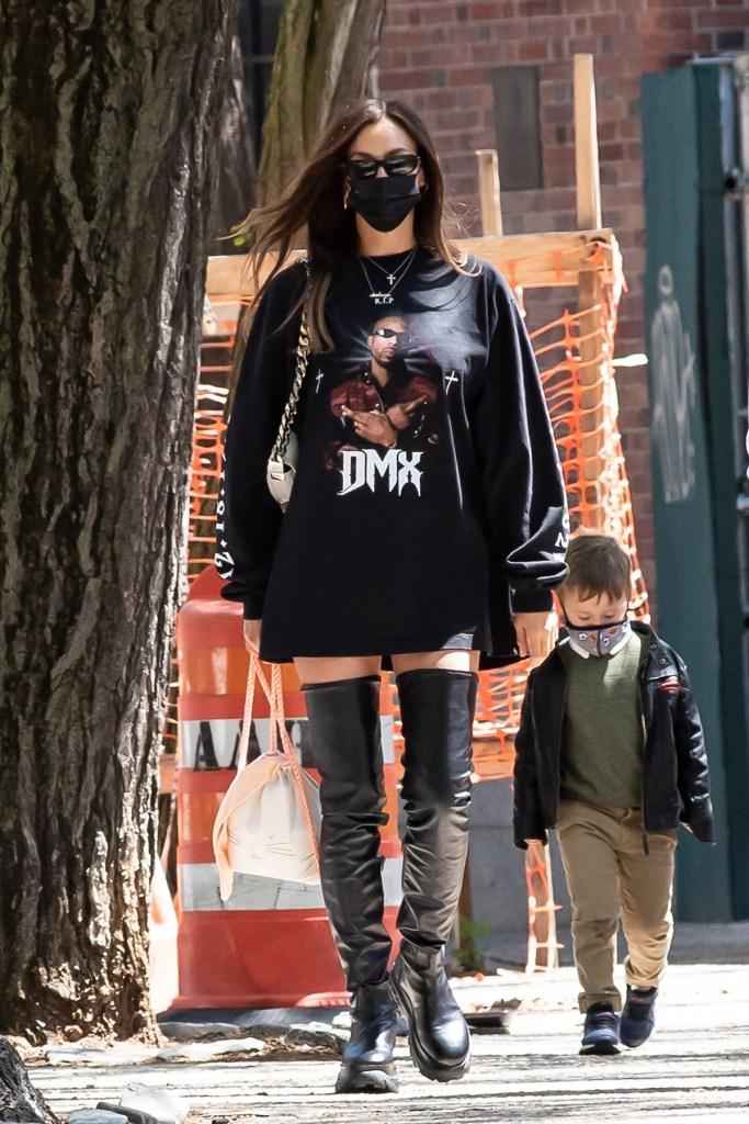 Irina Shayk in a DMX shirt