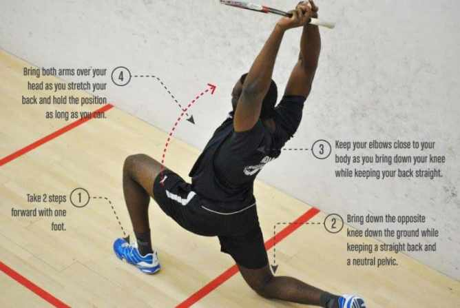 Squash Training Warmup Stretching