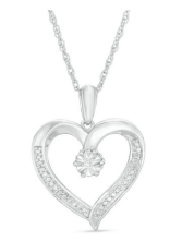 Diamond Accent Heart Pendant in Sterling Silver- $29.99
