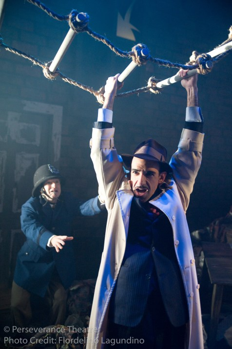 Roblin Gray Davis and Aram Aghazarian in Alfred Hitchcock's The 39 Steps at Perseverance Theatre 2011