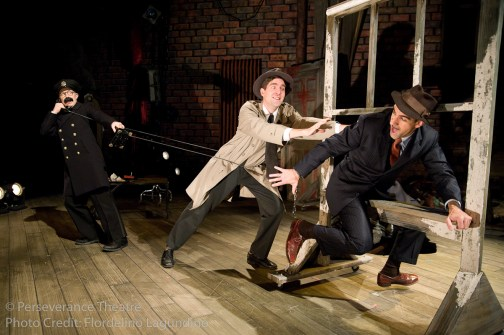 Roblin Gray Davis, Jed Hancock-Brainerd and Aram Aghazarian in Alfred Hitchcock's The 39 Steps at Perseverance Theatre 2011
