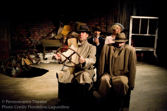 Jed Hancock-Brainerd, Aram Aghazarian, Rebecca Noon and Roblin Gray Davis in Alfred Hitchcock's The 39 Steps at Perseverance Theatre 2011