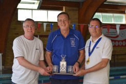 Ian Wells (centre) being presented with decanter and glasses by Chairman Pete Hockerston (left) and Club President Guy Dix (Right)