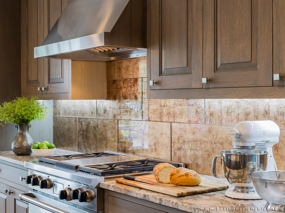 kitchen backspash extractor how to choose a backsplash boston design guide large polished glass tile with antiqued copper leaf applied the reverse side create this s result is beautiful look
