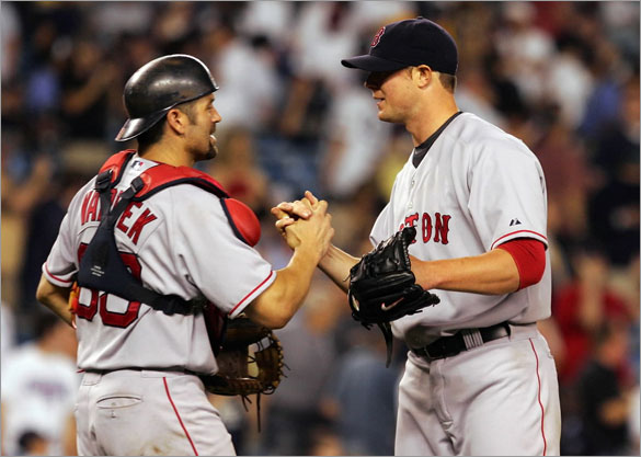 Jason Varitek and John Lester, 7/3/2008