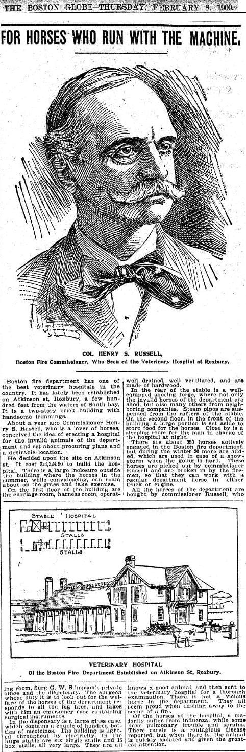 1900 newspaper story on the Veterinary Hospital.