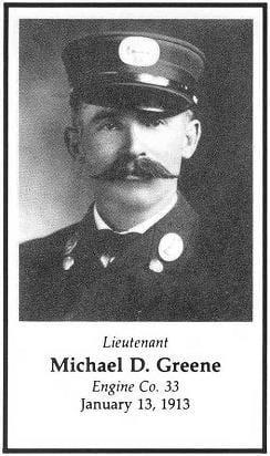 Lieutenant Michael D. Greene, Engine Company 33, LODD, January 13, 1913.