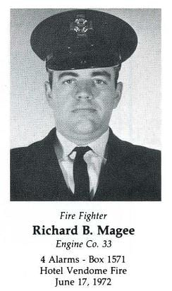 Photo of Fire Fighter Richard B. Magee, Engine Company 33, LODD 6/17/1972.