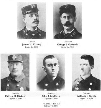 Photos of five members of Engine 38/39, LODD 2/5/1898.
