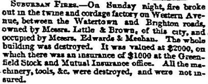 1855 Boston Atlas newspaper story of a fire in a twine and cordage factory on Western Ave.