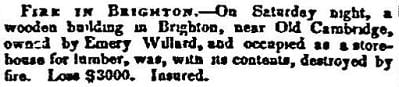 1852 Boston Atlas newspaper story of a fire in a wooden storehouse for lumber in Brighton.