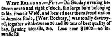 Newspaper report of a barn fire in West Roxbury on 11/25/1851.