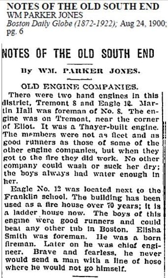 1900 newspaper story on the firehouse.