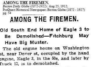Newspaper story on the demolition of the firehouse at 1171 Washington St.