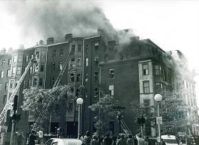 Dartmouth St. side, during the fire, before the collapse.