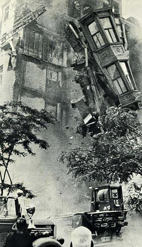 The upper floors crashing down during the collapse.