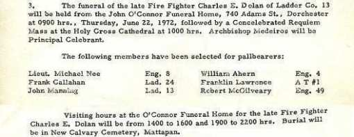 Funeral detail for Fire Fighter Charles E. Dolan.