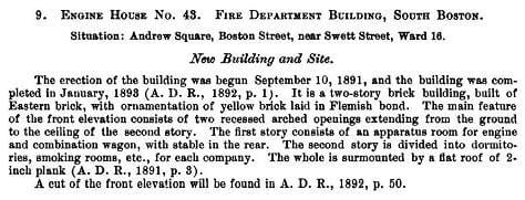 A City Report on the construction of the firehouse.