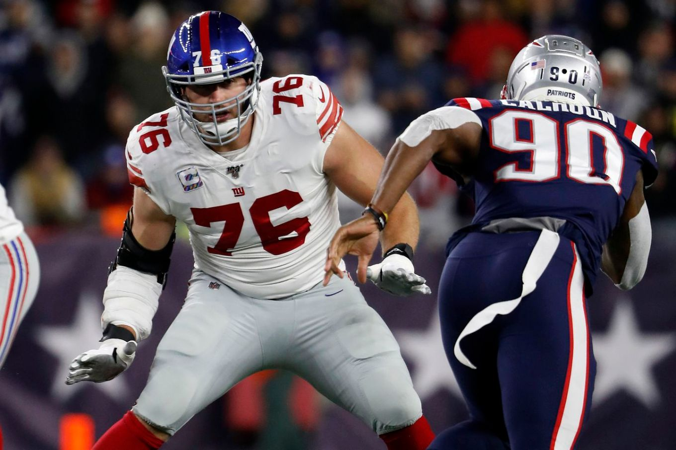 Former Patriot Nate Solder started every game at left tackle the past two seasons for the Giants, but is opting not to play in 2020 for health concerns during the pandemic.