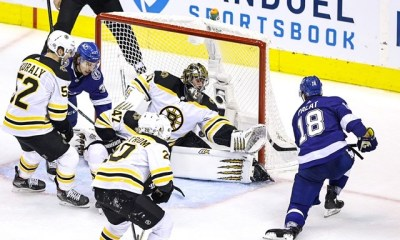 Boston Bruins Jaroslav Halak can't make save